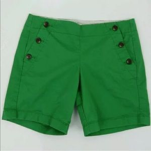 J.crew Sailor Green side button shorts Size 2
